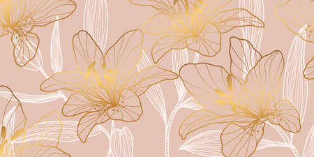Rose Gold Lily pattern. Floral wedding background design for warpping paper, wallpaper, brochure and prints. Vector illustration. Imagens - 153571025