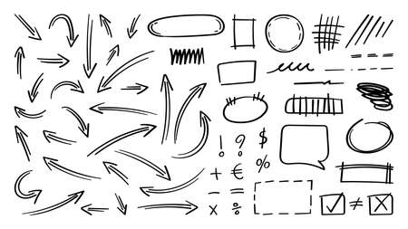 Arrow vector doodle. Hand drawn sketch arrows design for business plan and education. Imagens - 153474874
