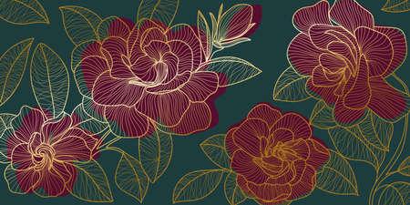 Golden rose backgroud pattern. Floral wallpaper design for textiles, paper, print, pictures wall.