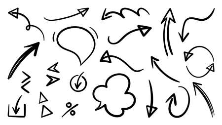 Arrow vector doodle. Hand drawn sketch arrows design for business plan and education. Imagens - 153474846