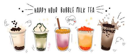 Bubble milk tea design collection,Pearl milk tea , Boba milk tea, Yummy drinks, coffees with doodle style banner,  Vector illustration. Ilustração