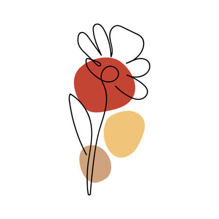 Abstract minimal flower Line art design for cover, prints, floral wall art, Home decor picture, fabric and wallpaper. Vector illustration