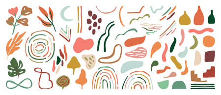 Hand drawn abstract arts vector element collection. Organic Shapes and brush design for cover, banner background. social post and stories background decoration, print, wallpaper. Vector illustration Imagens - 153474942