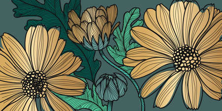 Barberton daisy, Gerbera, Luxury gold floral  pattern for printing, flora postcards, pcBeautiful blooming poppy flowers and leaf with golden contour lines background vector.