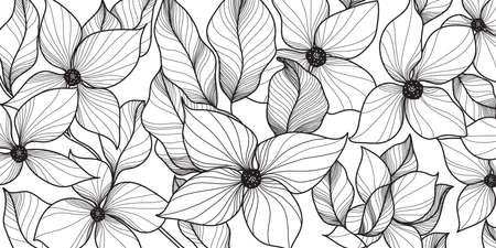 Black and white Elegant decorative floral background pattern. Minimal and luxury design for print, blanket, wallpaper, textile, cloting. Vector illustration.