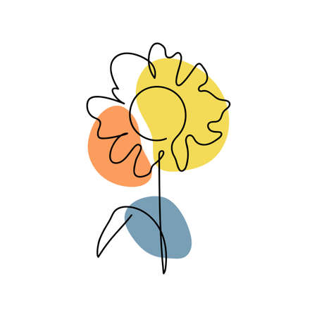 Abstract minimal flower Line art design for cover, prints, floral wall art, Home decor picture, fabric and wallpaper. Vector illustration Imagens - 153515739