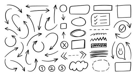 Arrow vector doodle. Hand drawn sketch arrows design for business plan and education.