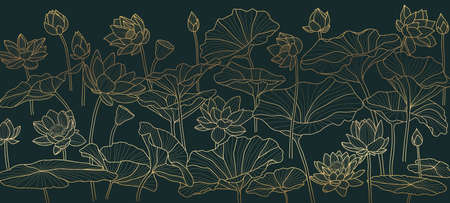 Golden lotus  background pattern vector. Tropical flower background design for cosmetics,health care, print, postcards, packaging, covers, vector illustration. Imagens - 153571071