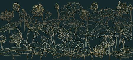 Golden lotus  background pattern vector. Tropical flower background design for cosmetics,health care, print, postcards, packaging, covers, vector illustration. Ilustração