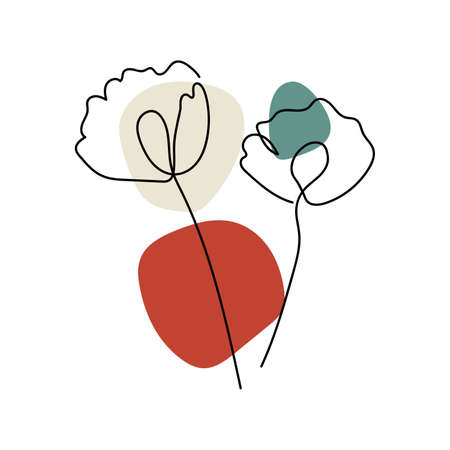 Abstract minimal flower Line art design for cover, prints, floral wall art, Home decor picture, fabric and wallpaper. Vector illustration Imagens - 153475158