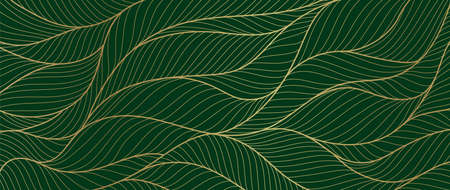 Luxury gold and nature green background vector. Floral pattern, Golden split-leaf Philodendron plant with monstera plant line arts, Vector illustration. Imagens - 153571087