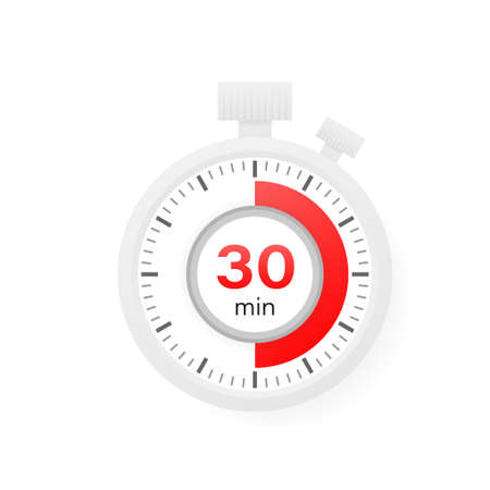 The 30 minutes timer. Stopwatch icon in flat style