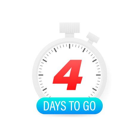 Four days to go timer icon on white background. Ilustracja