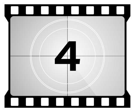 A classic movie countdown frame at the number Four. Vecteurs