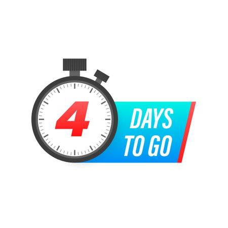 Four days to go timer icon on white background. To go sign. Ilustracja