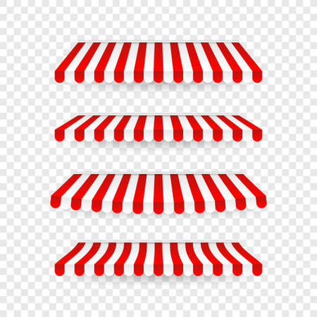 Red and white sunshade. Outdoor awnings for cafe and shop window isolated vector set. Tent sunshade for market, stripe summer scallop for store illustration
