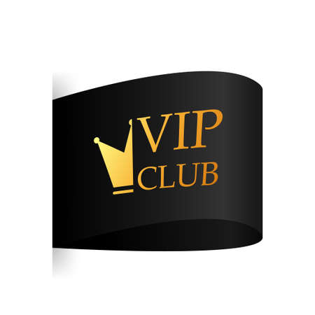 Black ribbon. Round badge for VIP club. Vector illustration.