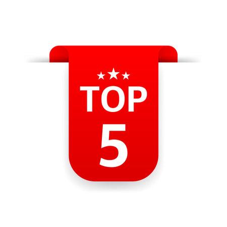 Top 5. Red ribbon. Flat vector illustration on white background. Ilustração