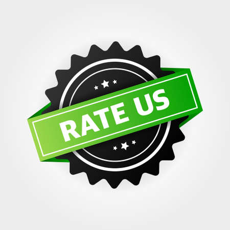 Rate us label, stamp on white background. Vector stock illustration.