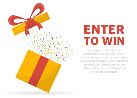 Enter to win prizes. Prize box opening and exploding with fireworks and confetti Vektorgrafik
