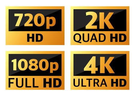 4k ultrahd, 2k quadhd, 1080 fullhd and 720 hd dimensions of video Vektoros illusztráció