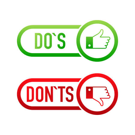 check marks ui button with dos and donts. flat simple style trend modern red and green checkmark Illustration