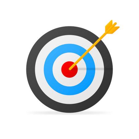 Arrow hit goal ring in archery target. Vector illustration. Vettoriali