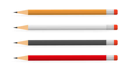Lead pencils various length on white background