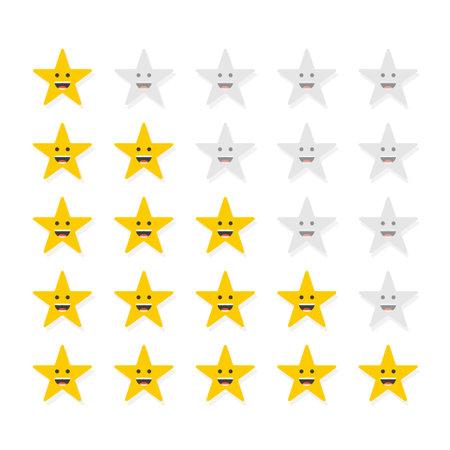 Set of stars rating. Customer review with gold star icon. Vector illustration Illusztráció