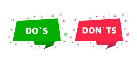 check marks ui button with dos and donts. flat simple style trend modern red and green check mark graphic design.