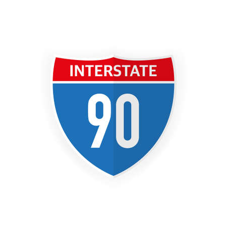 Interstate highway 90 road sign icon isolated on white background. Vector illustration