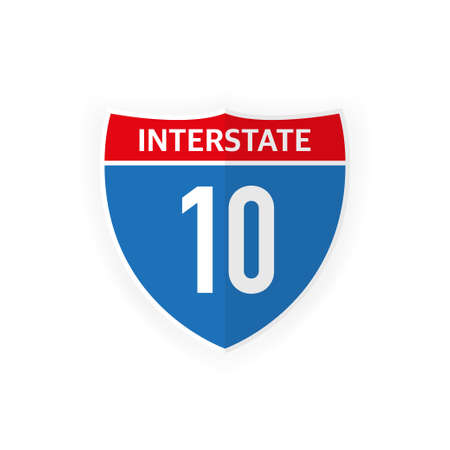 Interstate highway 10 road sign icon isolated on white background. Vector illustration Ilustrace