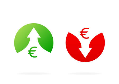 Up and down arrows. Red and Green icons. Illustration isolated on white background. Vector illustration with profit marks