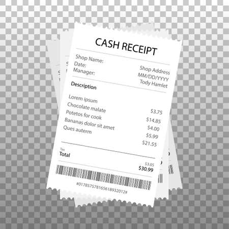 Receipt icon in a flat style isolated. Invoice sign. Vector illustration