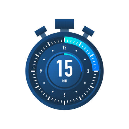 The 15 minutes, stopwatch vector icon. Stopwatch icon in flat style on a white background. Vector stock illustration  イラスト・ベクター素材
