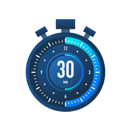 The 30 minutes, stopwatch vector icon. Stopwatch icon in flat style on a white background. Vector stock illustration