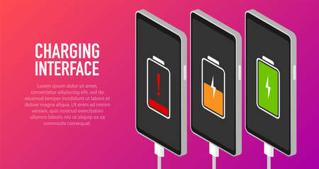 Discharged and fully charged battery smartphone - vector infographic. Isolated on pink background Vektoros illusztráció