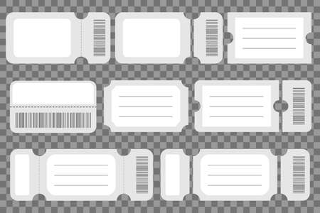 Set of blank ticket mockup template. Realistic White paper coupon