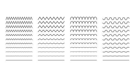 collection of different thin line wave. Vector illustration.