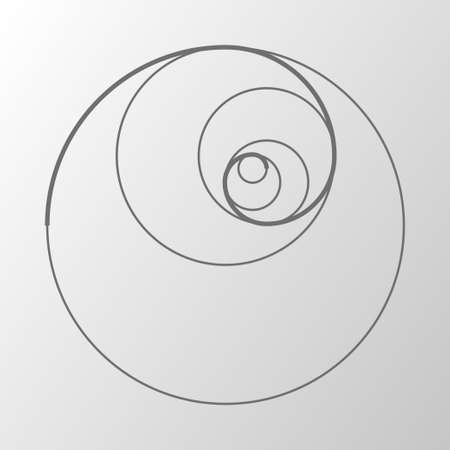 Abstract illustration with golden ratio on gray background. Art & gold. Spiral pattern. Line drawing. Vector illustration
