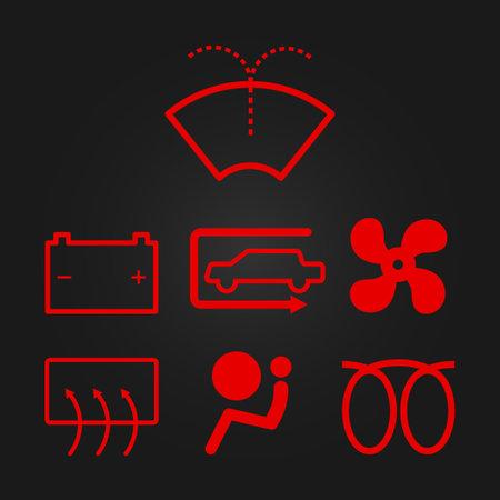 Simple illuminated car dashboard. Vector illustration