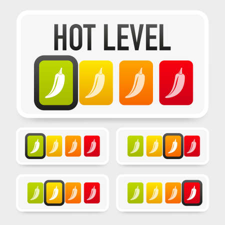 Hot pepper strength scale indicator with mild, medium, hot and hell positions. Chilli level. Vector illustration