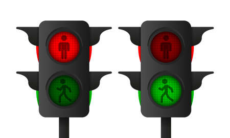 3d realistic pedestrian traffic light on white background. Vector illustration