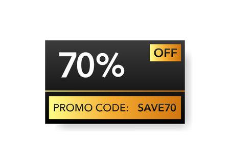 Gold promo code discount. Save money. White background. Minimal design. Vector illustration