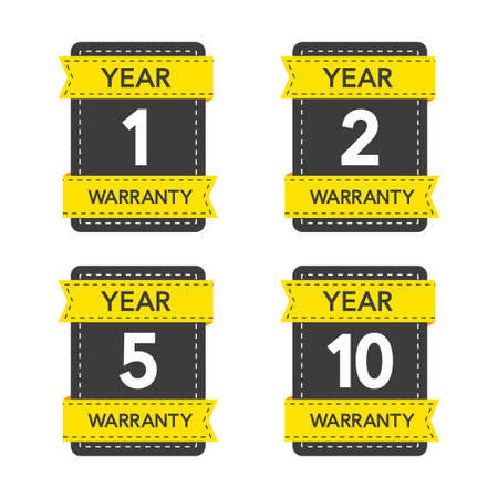 Badges set with year warranty on white background. Vector illustration