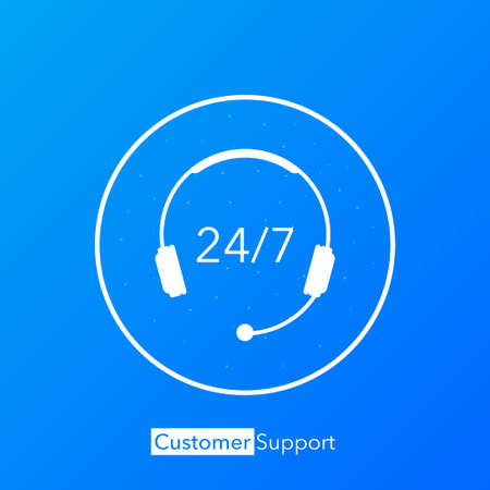 24/7 support in abstract style on white background. Customer service. Online support call center. Flat vector. vector