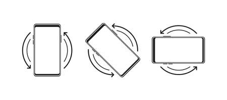 Rotate Mobile phone. Turn your device. Device rotation symbol. Vector illustration