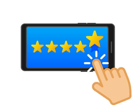 Online survey concept. Customer service. Social icon. Customer review rating