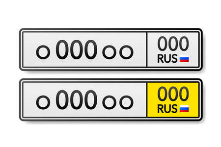 European Number plate car. Information sign. Options for vehicle license plates