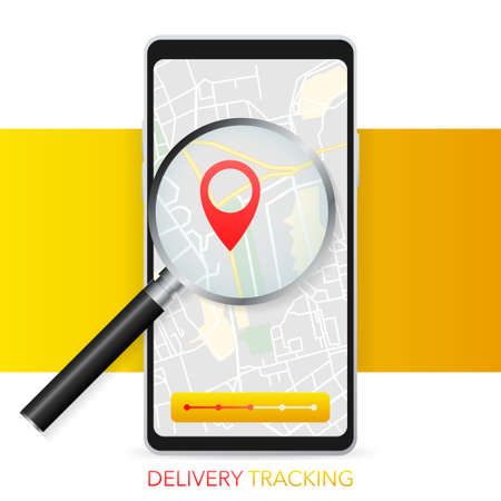 Geo map and zoom lens. Delivery tracking. City map on color background. Mobile app. Vector illustration Иллюстрация